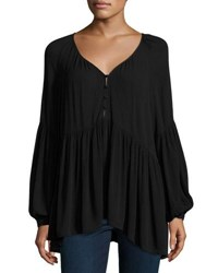 Knot Sisters Carmen Button Front Blouse Black