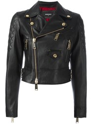 Dsquared2 Quilted Detail Biker Jacket Black