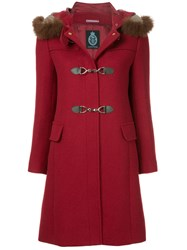 Guild Prime Fur Collar Double Breasted Coat Red