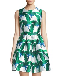 Blaque Label Palm Print Mikado Fit And Flare Dress Green