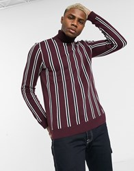 Topman Roll Neck Jumper With Vertical Stripe In Burgundy Red