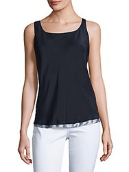 Lafayette 148 New York Raw Silk Sleeveless Top Ink Crystal