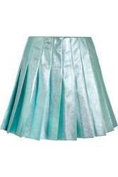 Miu Miu Pleated Metallic Leather Mini Skirt Turquoise