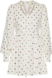 Marc Jacobs Pussy Bow Glittered Polka Dot Cady Mini Dress White