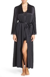 Christine Lingerie Women's Lace Trim Silk Robe