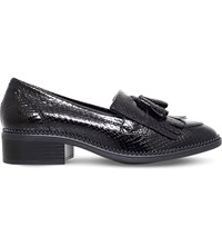Kg By Kurt Geiger Konker Reptile Effect Leather Loafers Black