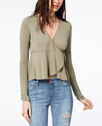 American Rag Juniors' Wrap Top Created For Macy's Olive