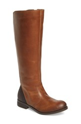 Fly London Women's Axil Elastic Back Riding Boot Camel Chocolate Leather