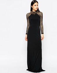Forever Unique Marissa Maxi Dress With Embellished Necklace Detail Black
