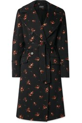 Ann Demeulemeester Double Breasted Cotton Blend Jacquard Coat Black