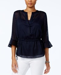 Tommy Hilfiger Sheer Peplum Top Only At Macy's Midnight