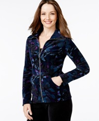 Style And Co. Sport Butterfly Print Zip Front Track Jacket Only At Macy's Blue Multi