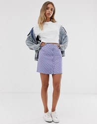 Daisy Street Button Through Mini Skirt In Vintage Ditsy Floral Purple