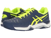 Asics Gel Challenger 11 Indigo Blue Safety Yellow Silver Men's Tennis Shoes