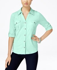 Styleandco. Style And Co. Roll Tab Jersey Button Down Shirt Only At Macy's Mystic Aqua