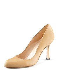 Manolo Blahnik Fokapump Round Toe Leather Pump Camel