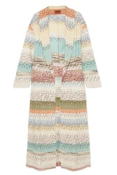 Missoni Crochet Knit Coat Blue