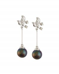 Belpearl 14K Freshwater Pearl And Diamond Dangle Earrings Black
