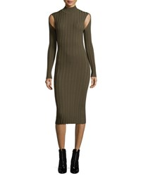 Mcq By Alexander Mcqueen Ribbed Lace Turtleneck Long Sleeve Fitted Dress Green