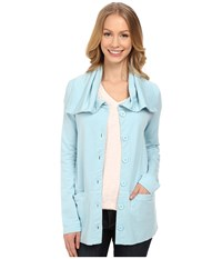 Mod O Doc Cotton Modal Spandex French Terry Button Up Jacket Blue Frost Women's Coat