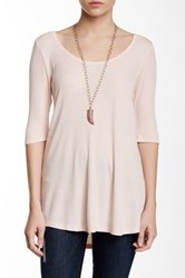 Heather By Bordeaux Elbow Length Sleeve Scoop Tee Pink
