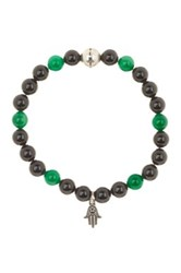 Steve Madden Beaded Stretch Hamsa Charm Bracelet Green