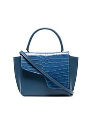 Atp Atelier Blue Montalcino Crocodile Embossed Leather Crossbody Bag
