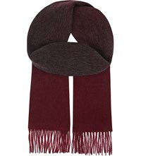 Reiss Count Lambswool And Cashmere Scarf Bordeaux