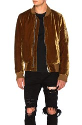 Amiri Silk Velvet Bomber Jacket In Brown Metallics Brown Metallics