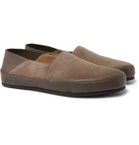 Brioni Collapsible Heel Suede And Textured Leather Loafers Taupe