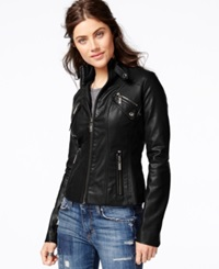 Joujou Jou Jou Faux Leather Band Collar Moto Jacket