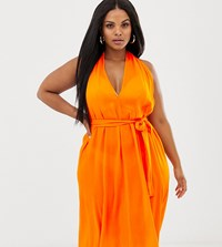 Asos Design Curve Halter Neck Beach Cover Up In Orange Multi