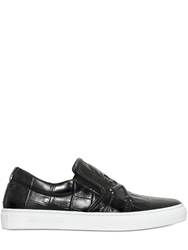 Philipp Plein Skull Embossed Leather Slip On Sneakers Black