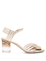 Nicholas Kirkwood Zaha Perspex Heel Leather Sandals Gold