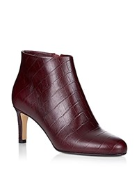 Hobbs London Lizzy Embossed Ankle Booties Dark Burgundy