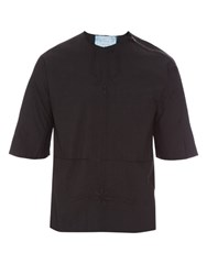 By Walid Zip Detail Embroidered Vintage Linen Top Black
