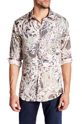 Robert Graham Desert Bones Long Sleeve Silk Blend Shirt Beige