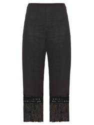 Edun Fringed Wool Twill Trousers Black