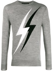 Neil Barrett Lightning Embroidered Sweater Grey