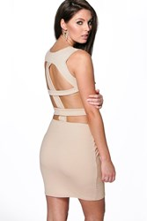 Boohoo Cut Out Detail Open Back Bodycon Dress Stone