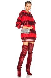 Ashish Sequin Rugby Oversized Sweatshirt Dress In Red Stripes Red Stripes