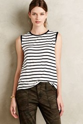 Anthropologie Striped Lace Back Tank Black And White