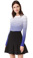 Milly Striped Pullover White Cobalt