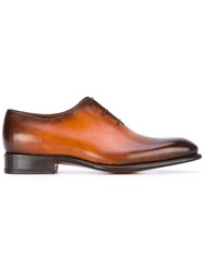 Santoni Oxford Shoes Men Leather 10 Brown
