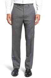 Santorelli Men's Big And Tall Flat Front Solid Wool Trousers Medium Grey