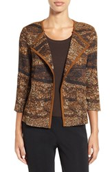 Ming Wang Women's Asymmetrical Jacquard Knit Jacket