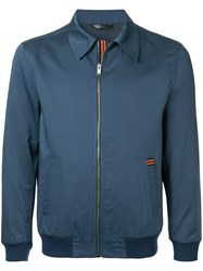 Gieves And Hawkes Zipped Fitted Jacket Blue