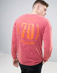Asos Dropped Shoulder Oversized Long Sleeve T Shirt With Gothic Typo And Acid Wash Rasb Red