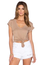Bobi Light Weight Jersey V Neck Pocket Tee Tan