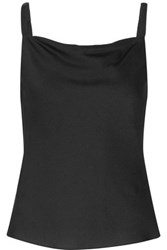 Milly Draped Silk Blend Camisole Black